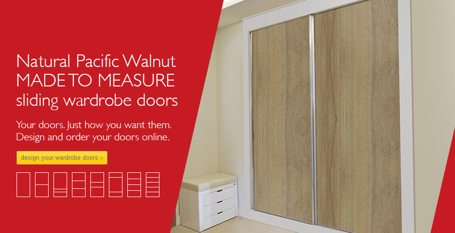 Natural Pacific Walnut Wood Sliding Wardrobe Doors