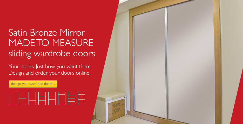 Satin Bronze Mirror Sliding Wardrobe Doors
