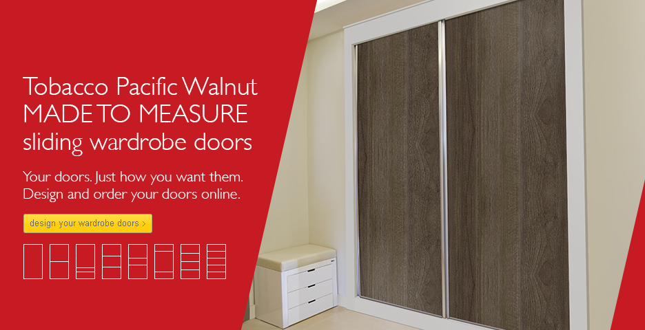 Tobacco Pacific Walnut Wood Sliding Wardrobe Doors