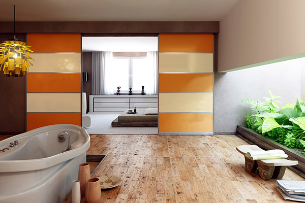 Sliding partition doors